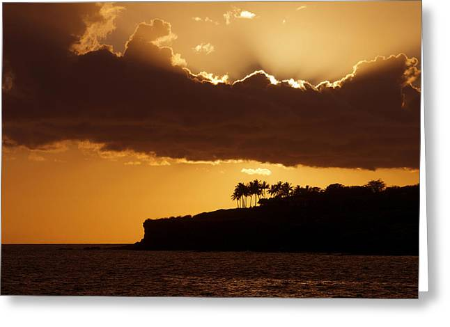 Backlit Greeting Cards - Bright Orange Sunset II Greeting Card by Ron Dahlquist