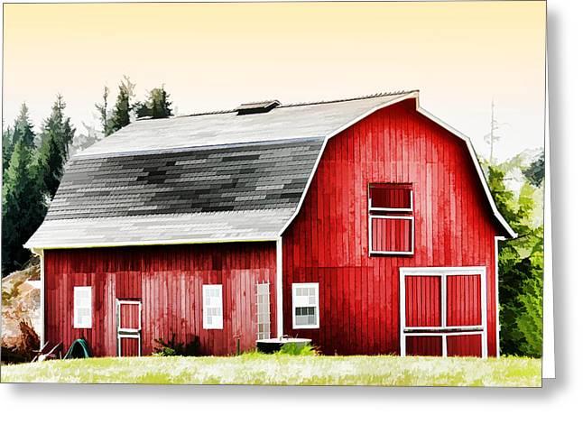 Barn Digital Art Greeting Cards - Bright Red Barn Greeting Card by Tracie Kaska