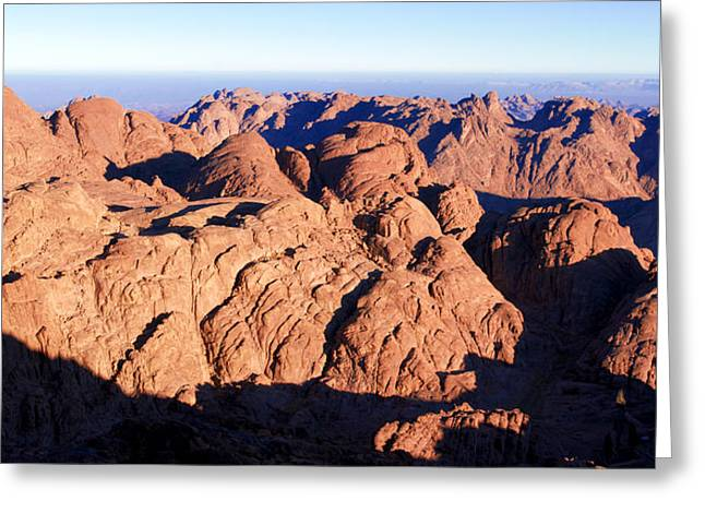 Sinai Mountain Greeting Cards - Bright red Mountains Greeting Card by Steffen Welsch