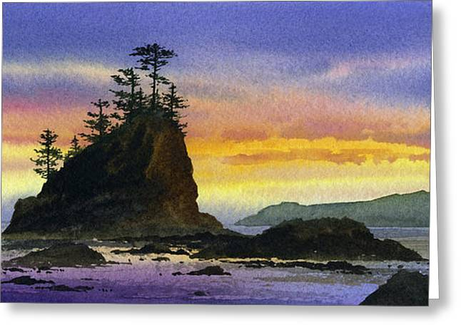 Landscape Framed Prints Greeting Cards - Bright Seacoast Sunset Greeting Card by James Williamson