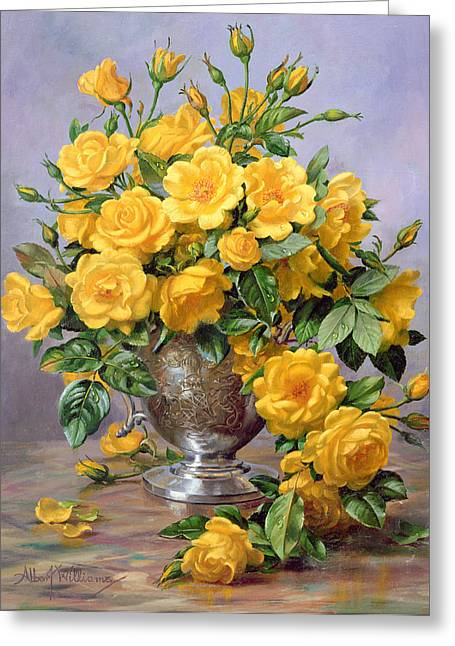 Flower Display Greeting Cards - Bright Smile - Roses in a Silver Vase Greeting Card by Albert Williams
