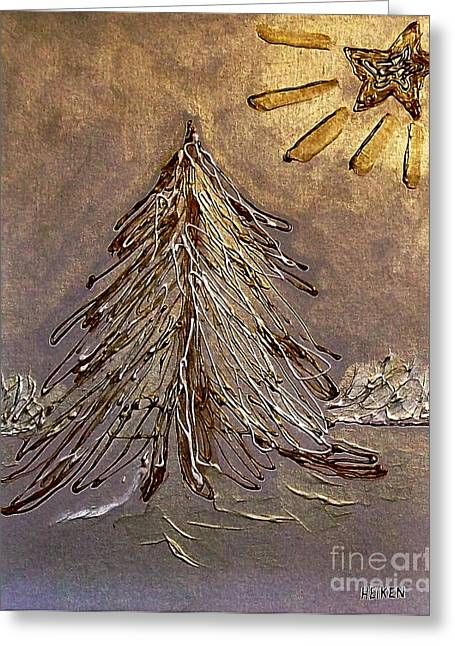 Snow Tree Prints Greeting Cards - Bright Star For Light Greeting Card by Marsha Heiken