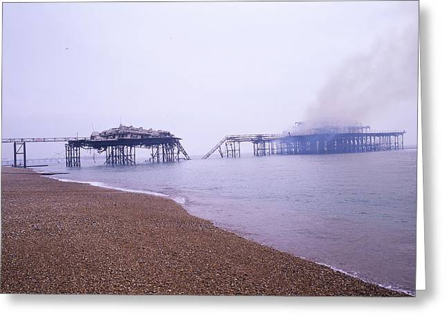 Deliberate Greeting Cards - Brighton West Pier On Fire Greeting Card by Carlos Dominguez