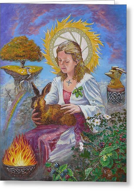 Celtic Paintings Greeting Cards - Brigid Goddess Celtic Goddess of Fire Greeting Card by Tomas OMaoldomhnaigh