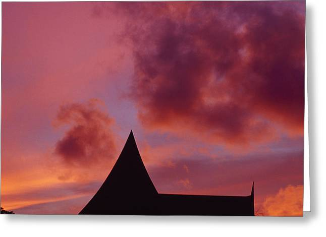 East Asian Ethnicity Greeting Cards - Brilliant Red And Burgundy Sunset Greeting Card by Jason Edwards