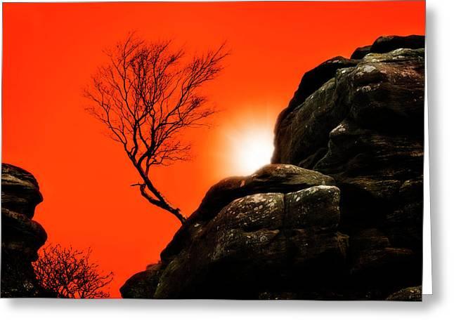 Burst Greeting Cards - Brimham Sunset Greeting Card by Meirion Matthias