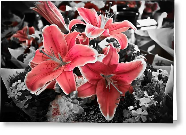 Stargazer Lily Greeting Cards - Bring Out The Pink Greeting Card by April Reppucci