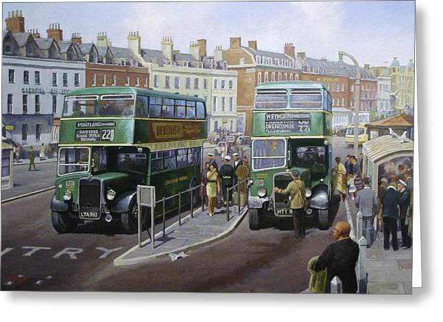 Buses Greeting Cards - Bristols at Weymouth Greeting Card by Mike  Jeffries