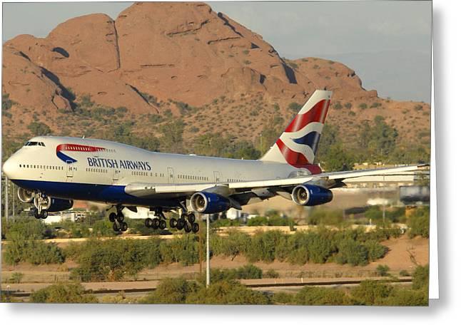 747 Greeting Cards - British Airways Boeing 747-436 G-CIVA Phoenix Sky Harbor October 26 2010 Greeting Card by Brian Lockett