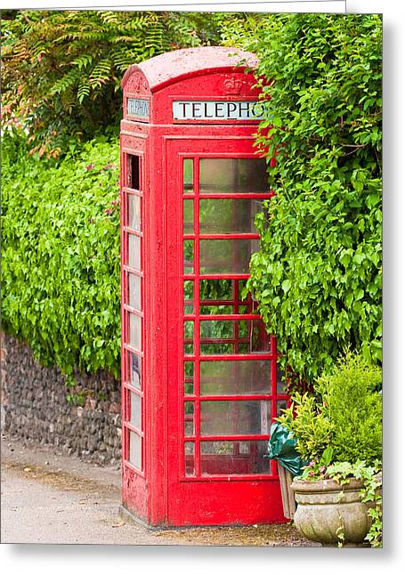 Telephone Booth Greeting Cards - British classic phone box in Lavenham Suffolk Greeting Card by Tom Gowanlock