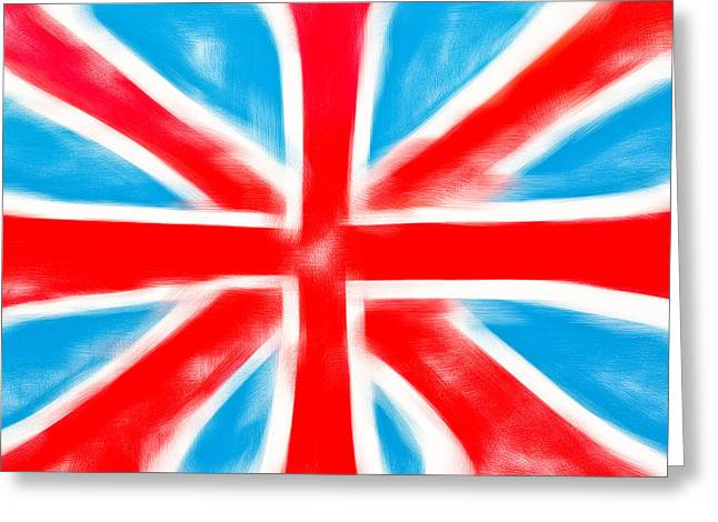 Shiny Fabric Greeting Cards - British flag Greeting Card by Tom Gowanlock