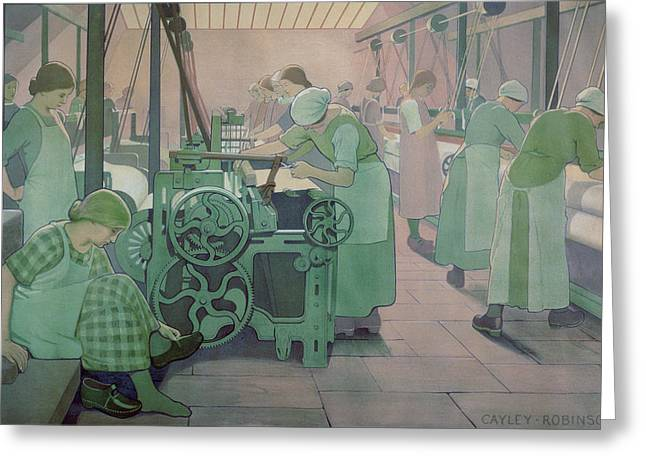 Job Greeting Cards - British Industries - Cotton Greeting Card by Frederick Cayley Robinson