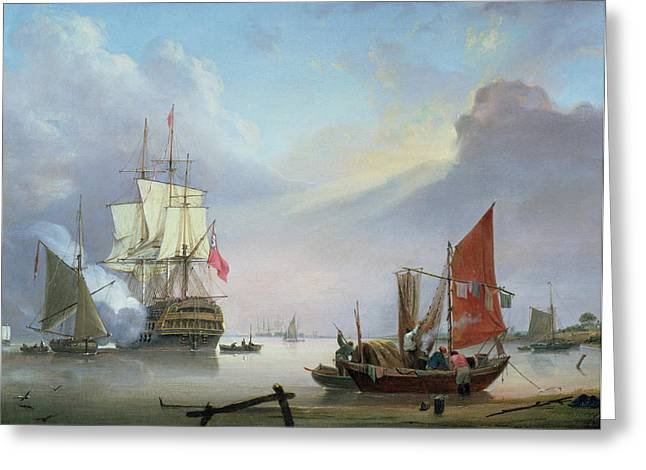 Sailboats Docked Greeting Cards - British Man-o-War off the coast Greeting Card by George Webster