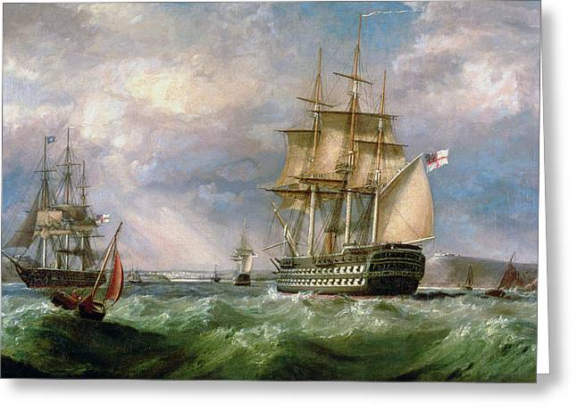Ocean Sailing Paintings Greeting Cards - British Men-O-War Sailing into Cork Harbour  Greeting Card by George Mounsey Wheatley Atkinson