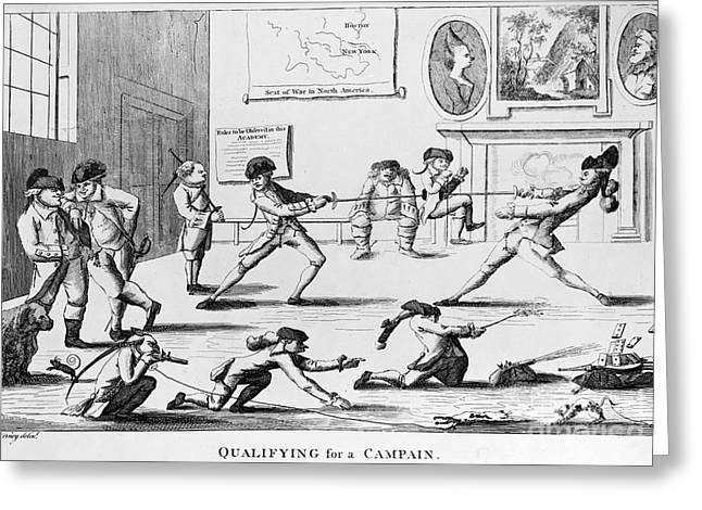 1770s Greeting Cards - BRITISH OFFICERS: CARTOON. English cartoon satire, 1777, on the want of training of British officers to prepare them for the American war Greeting Card by Granger