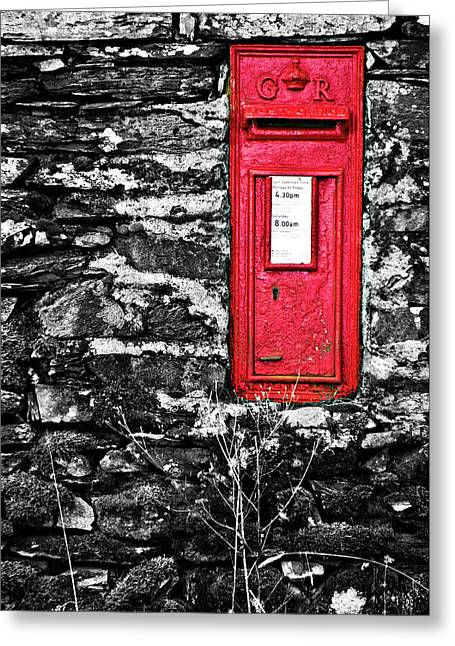 Wall Greeting Cards - British Red Post Box Greeting Card by Meirion Matthias