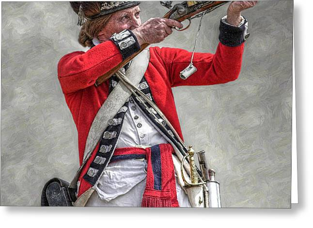 British Redcoat Firing Musket Portrait  Greeting Card by Randy Steele