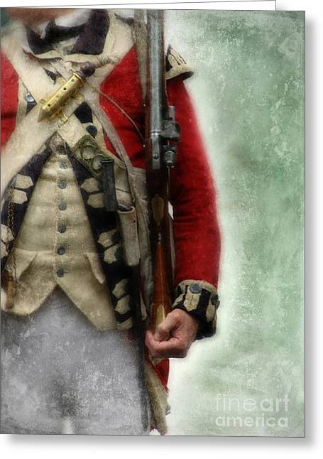 Re-enactor Greeting Cards - British Soldier from Amerian Revolution Greeting Card by Jill Battaglia