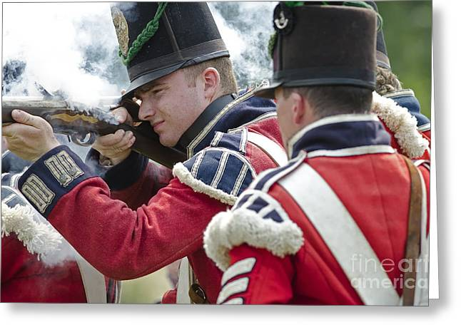In 1812 Greeting Cards - British Soldier Shooting Greeting Card by JT Lewis