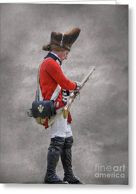 Loyalist Greeting Cards - British Soldier with Rifle American Revolution Greeting Card by Randy Steele