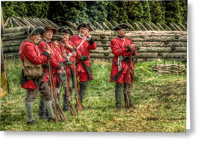Loyalist Greeting Cards - British Soldiers at Fort Ligonier Greeting Card by Randy Steele