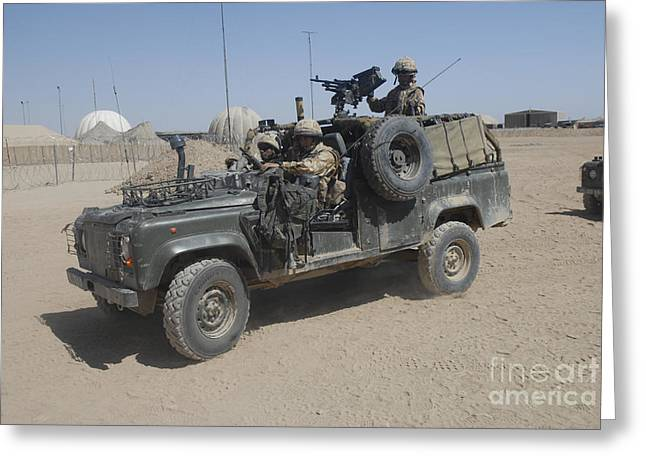 Driving Machine Greeting Cards - British Soldiers In Their Land Rover Greeting Card by Andrew Chittock