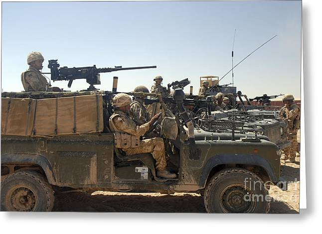 Driving Machine Greeting Cards - British Soldiers In Their Land Rovers Greeting Card by Andrew Chittock