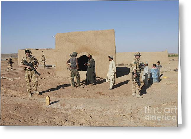 British Soldiers On Foot Patrol Greeting Card by Andrew Chittock