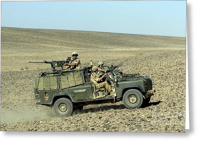 Driving Machine Greeting Cards - British Soldiers On Patrol In A Land Greeting Card by Andrew Chittock