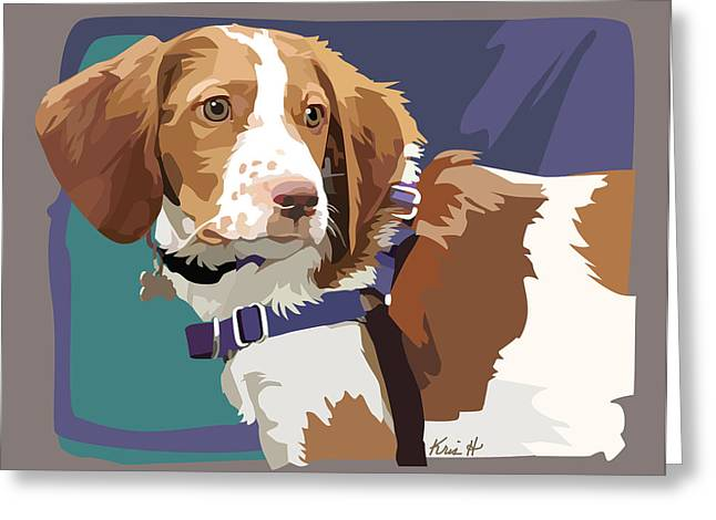 Spaniel Digital Art Greeting Cards - Brittany Boy   Greeting Card by Kris Hackleman