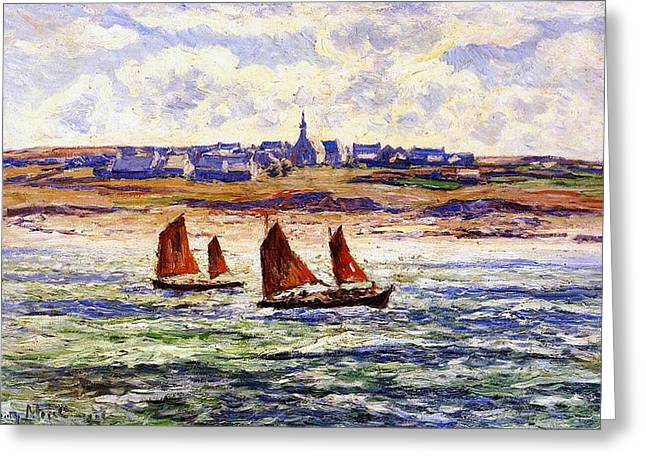Docked Sailboat Greeting Cards - Brittany Greeting Card by Henry Moret