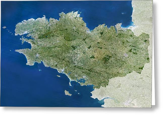 Administrative Greeting Cards - Brittany Region, France Greeting Card by Planetobserver