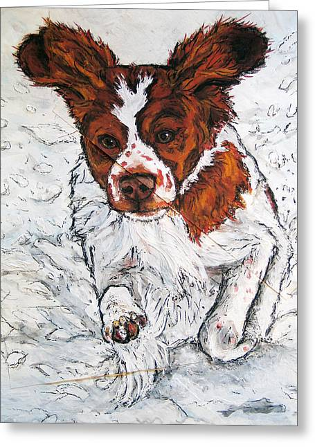 Dog In Snow Greeting Cards - Brittany Running in the Snow Greeting Card by Christas Designs