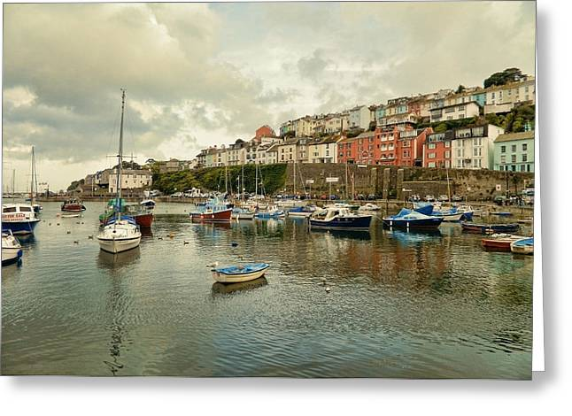 Quay Wall Greeting Cards - Brixham harbor 2 Greeting Card by Sharon Lisa Clarke
