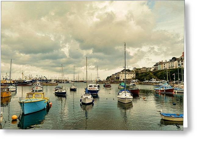 Quay Wall Greeting Cards - Brixham harbor Greeting Card by Sharon Lisa Clarke
