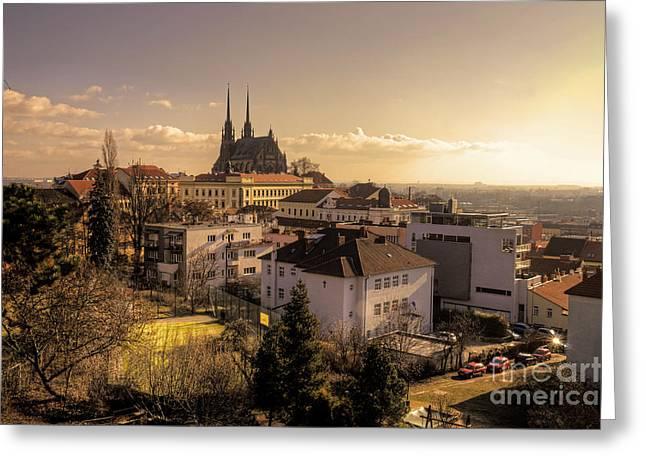 Hdr Landscape Greeting Cards - Brno Skyline  Greeting Card by Rob Hawkins