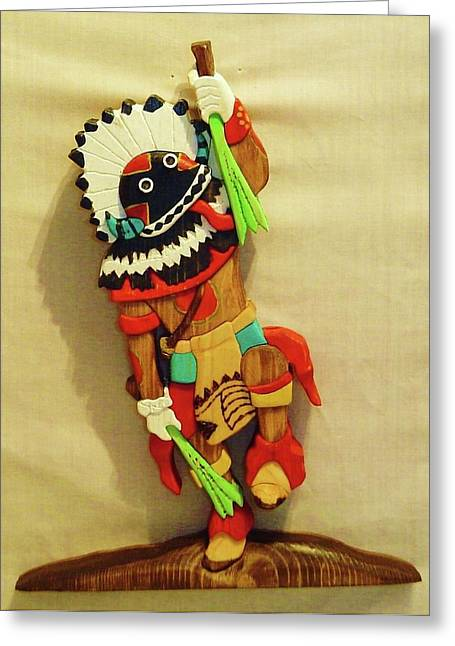 Intarsia Sculptures Greeting Cards - Broad Faced Kachina Greeting Card by Russell Ellingsworth