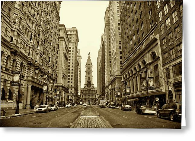 City Street Greeting Cards - Broad Street Facing Philadelphia City Hall in Sepia Greeting Card by Bill Cannon