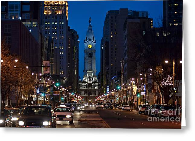 Phila Greeting Cards - Broad Street Greeting Card by John Greim