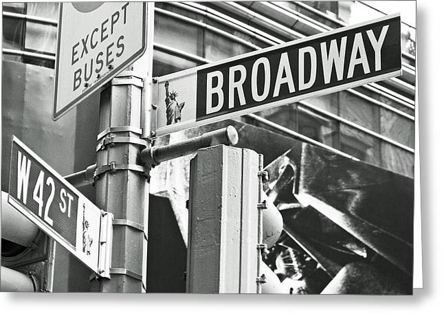 New Signs Greeting Cards - Broadway and 42nd Greeting Card by Sharla Gentile