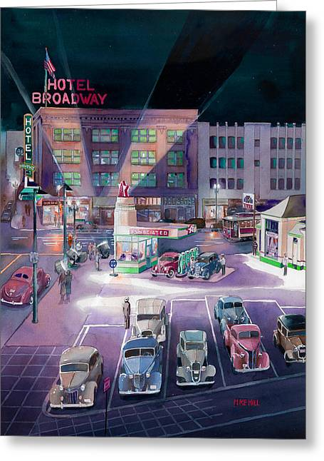 Broadway And Burnside 1941 Greeting Card by Mike Hill