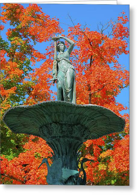 Fountain Photograph Greeting Cards - Broadway Fountain I Greeting Card by Steven Ainsworth