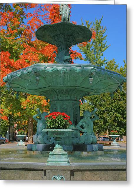 Sculpture Photographs Greeting Cards - Broadway Fountain II Greeting Card by Steven Ainsworth