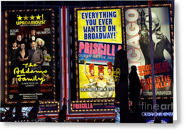 Theatre Billboard Greeting Cards - Broadway in New York Greeting Card by Pravine Chester