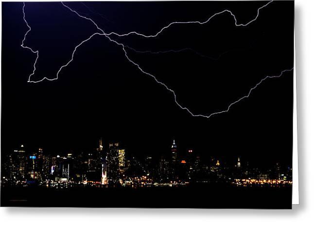 Lightning Strike Greeting Cards - Broadway Lightshow Greeting Card by David Hahn