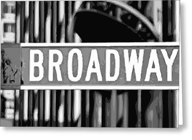 True Melting Pot Greeting Cards - Broadway Sign Color BW10 Greeting Card by Scott Kelley