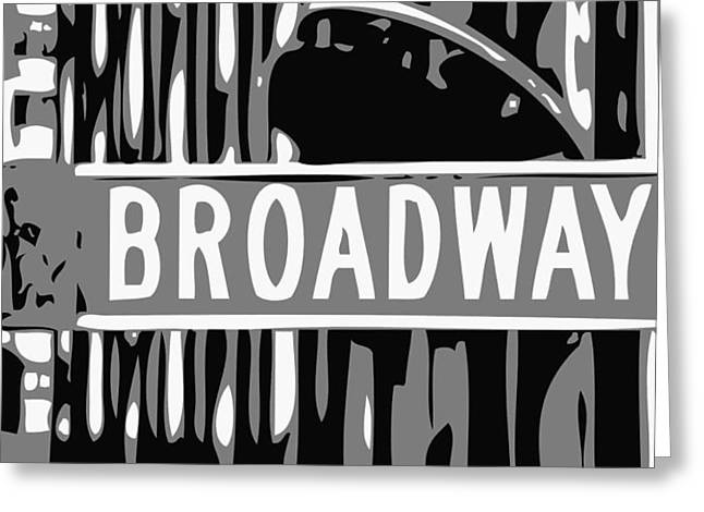 True Melting Pot Greeting Cards - Broadway Sign Color BW3 Greeting Card by Scott Kelley