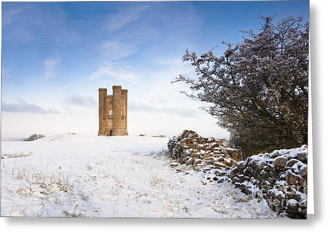 Vale Greeting Cards - Broadway tower in winter snow Greeting Card by Andrew  Michael
