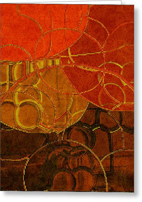 Tangerines Digital Greeting Cards - Brocade Circles No.2 Greeting Card by Bonnie Bruno
