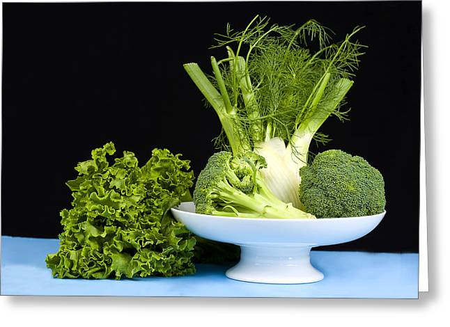 Broccoli Greeting Cards - Broccoli and Fennal Greeting Card by Trudy Wilkerson